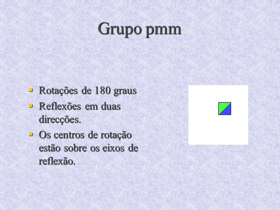 Grupo pmm Rotações de 180 graus Reflexões em duas direcções.