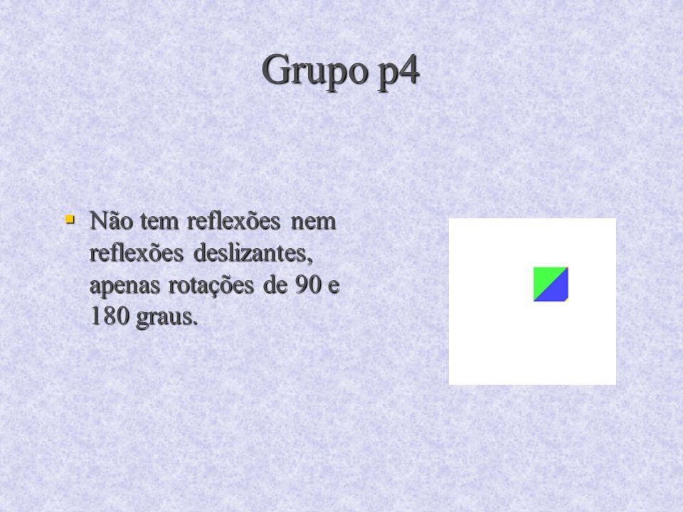 Grupo p4 Não tem reflexões nem reflexões deslizantes, apenas rotações de 90 e 180 graus.