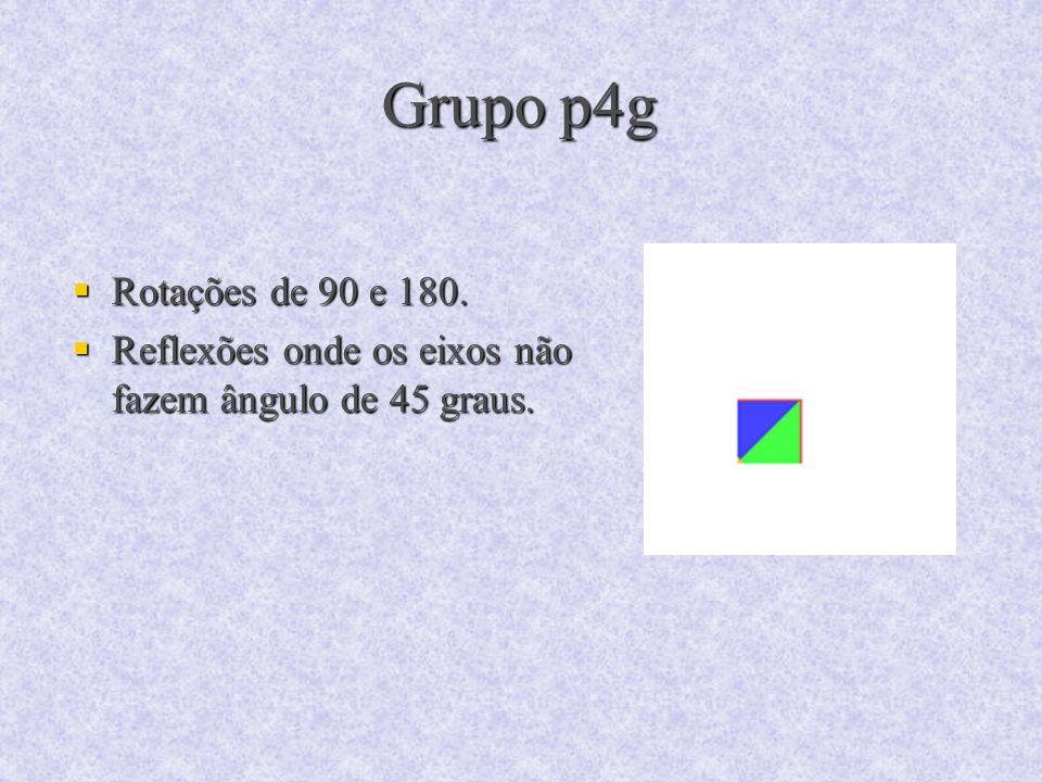Grupo p4g Rotações de 90 e 180. Reflexões onde os eixos não fazem ângulo de 45 graus.