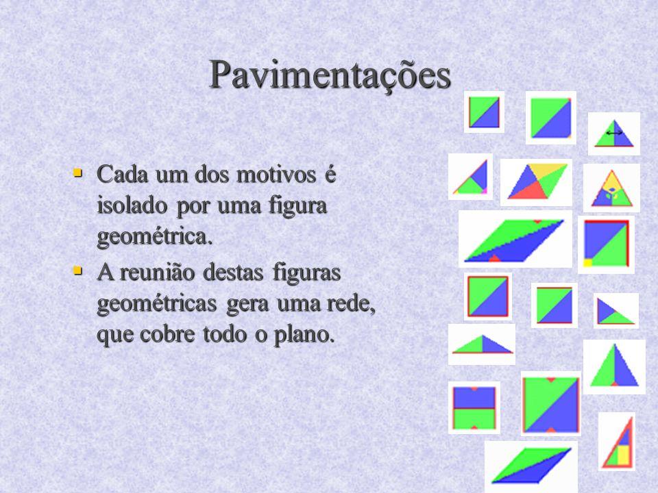 Pavimentações Cada um dos motivos é isolado por uma figura geométrica.