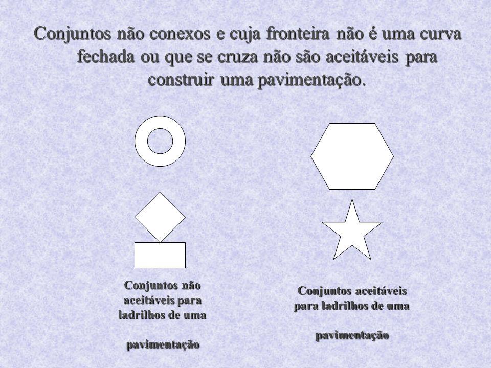Conjuntos não conexos e cuja fronteira não é uma curva fechada ou que se cruza não são aceitáveis para construir uma pavimentação.