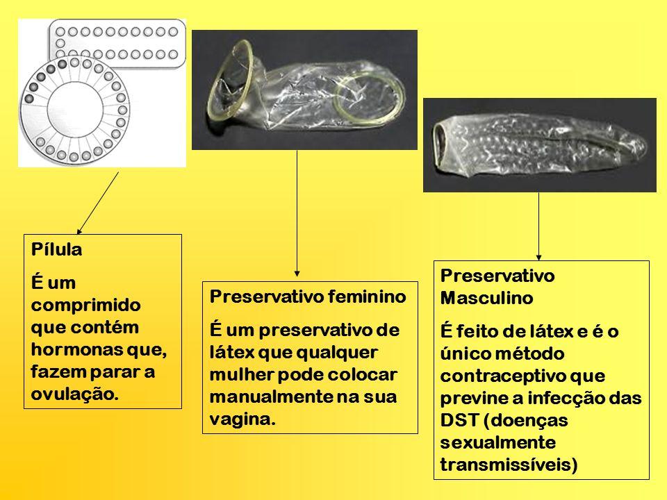 Pílula É um comprimido que contém hormonas que, fazem parar a ovulação. Preservativo Masculino.