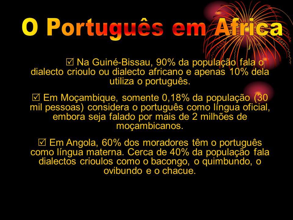 O Português em Africa  Na Guiné-Bissau, 90% da população fala o dialecto crioulo ou dialecto africano e apenas 10% dela utiliza o português.