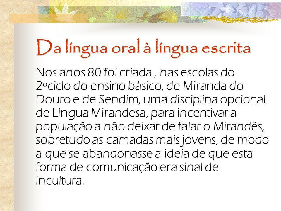 Da língua oral à língua escrita