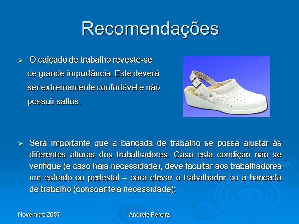 Recomendações O calçado de trabalho reveste-se