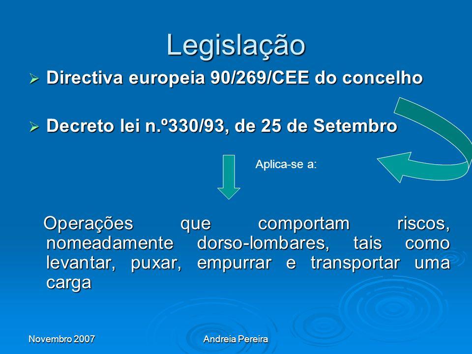 Legislação Directiva europeia 90/269/CEE do concelho