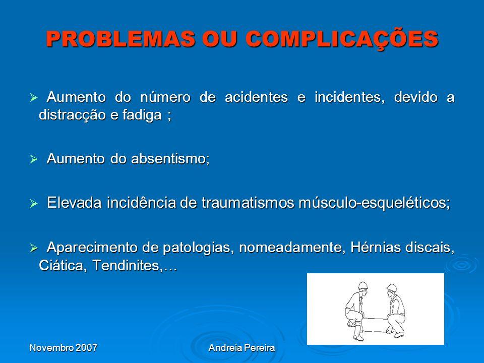 PROBLEMAS OU COMPLICAÇÕES