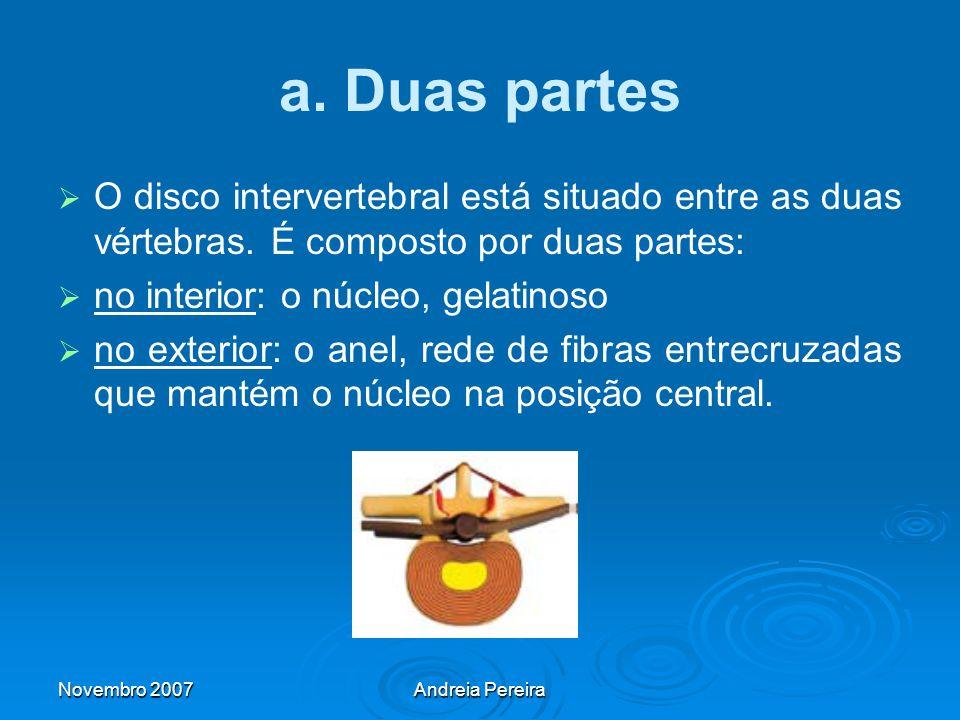 a. Duas partes O disco intervertebral está situado entre as duas vértebras. É composto por duas partes: