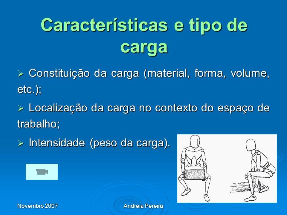 Características e tipo de carga