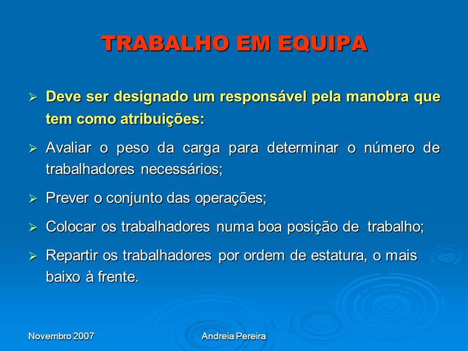 TRABALHO EM EQUIPA Deve ser designado um responsável pela manobra que tem como atribuições: