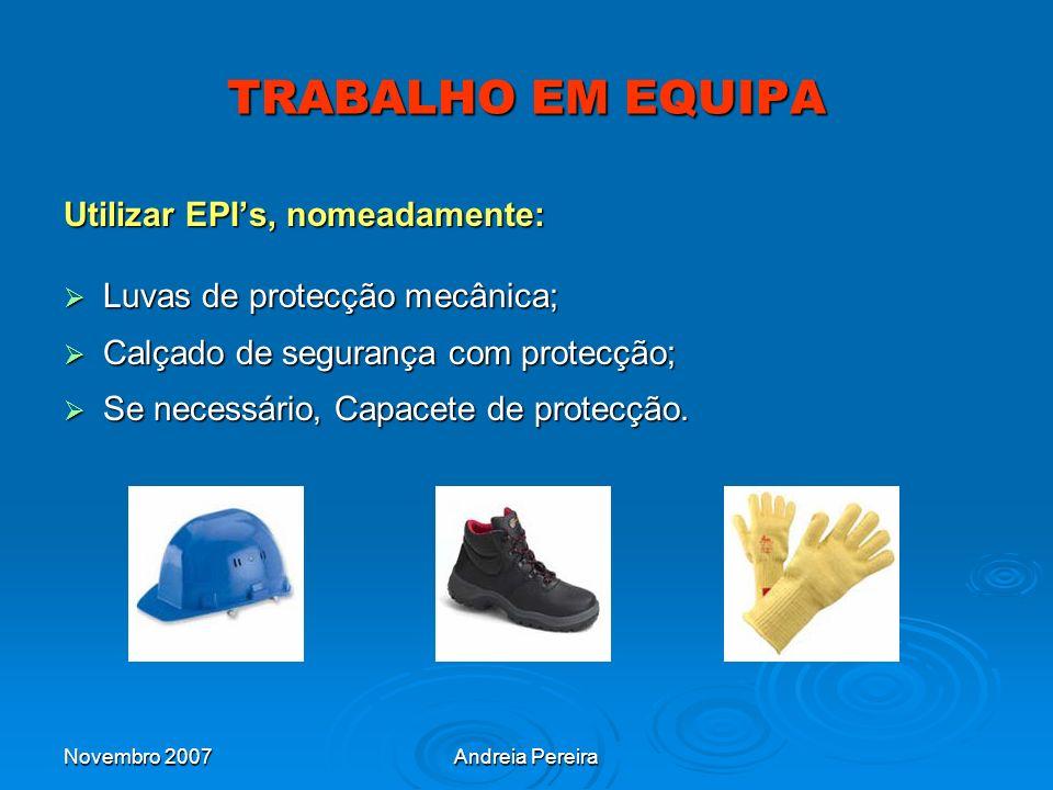 TRABALHO EM EQUIPA Utilizar EPI's, nomeadamente: