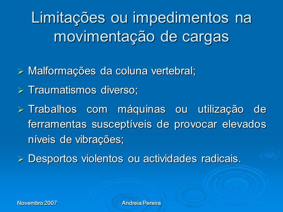 Limitações ou impedimentos na movimentação de cargas