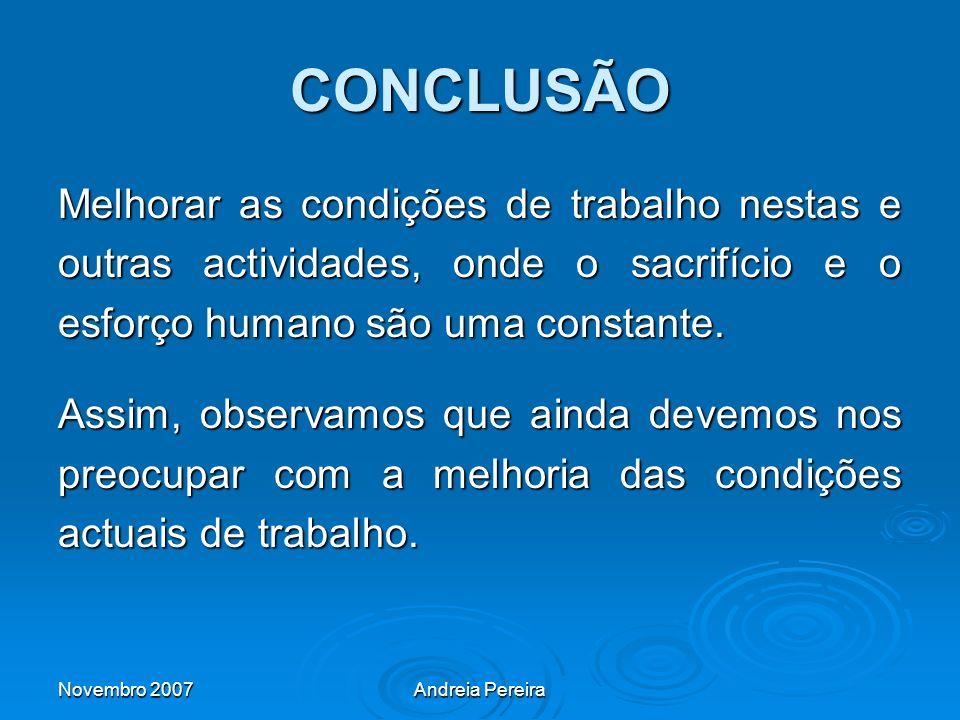 CONCLUSÃO Melhorar as condições de trabalho nestas e outras actividades, onde o sacrifício e o esforço humano são uma constante.