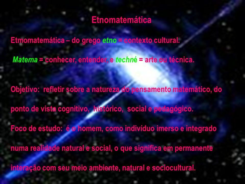 Etnomatemática Etmomatemática – do grego etno = contexto cultural.