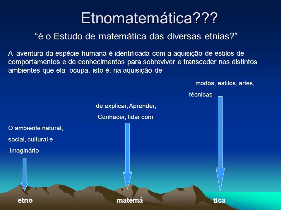 Etnomatemática é o Estudo de matemática das diversas etnias
