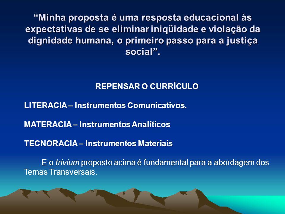 Minha proposta é uma resposta educacional às expectativas de se eliminar iniqüidade e violação da dignidade humana, o primeiro passo para a justiça social .