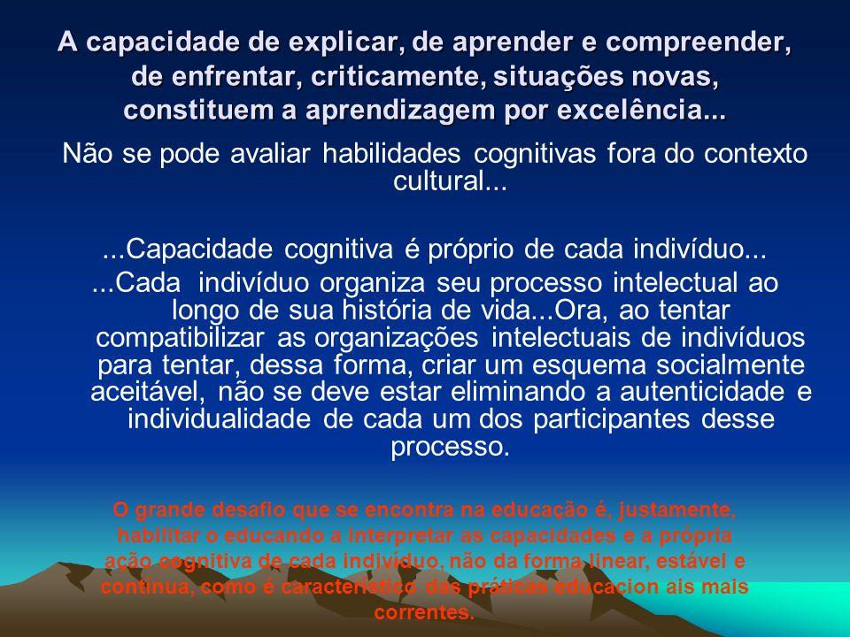 ...Capacidade cognitiva é próprio de cada indivíduo...