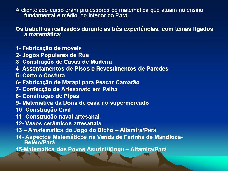 A clientelado curso eram professores de matemática que atuam no ensino fundamental e médio, no interior do Pará.