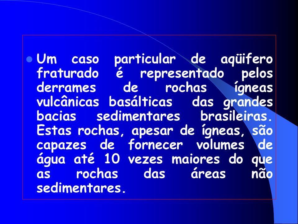 Um caso particular de aqüifero fraturado é representado pelos derrames de rochas ígneas vulcânicas basálticas das grandes bacias sedimentares brasileiras.
