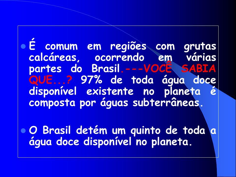 É comum em regiões com grutas calcáreas, ocorrendo em várias partes do Brasil.---VOCÊ SABIA QUE... 97% de toda água doce disponível existente no planeta é composta por águas subterrâneas.