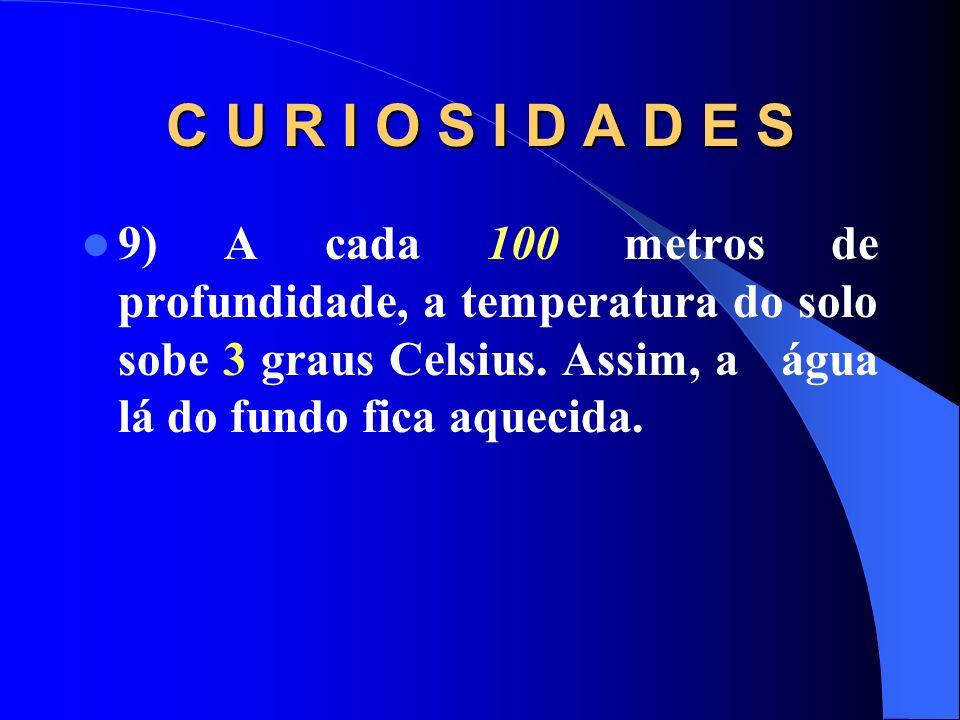 C U R I O S I D A D E S9) A cada 100 metros de profundidade, a temperatura do solo sobe 3 graus Celsius.