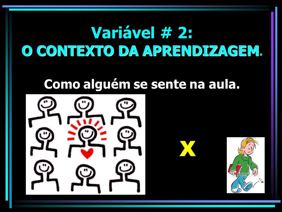 X Variável # 2: O CONTEXTO DA APRENDIZAGEM.