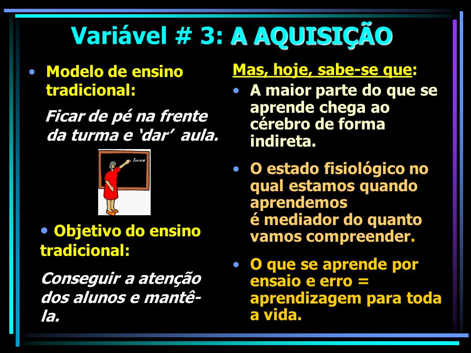 Variável # 3: A AQUISIÇÃO