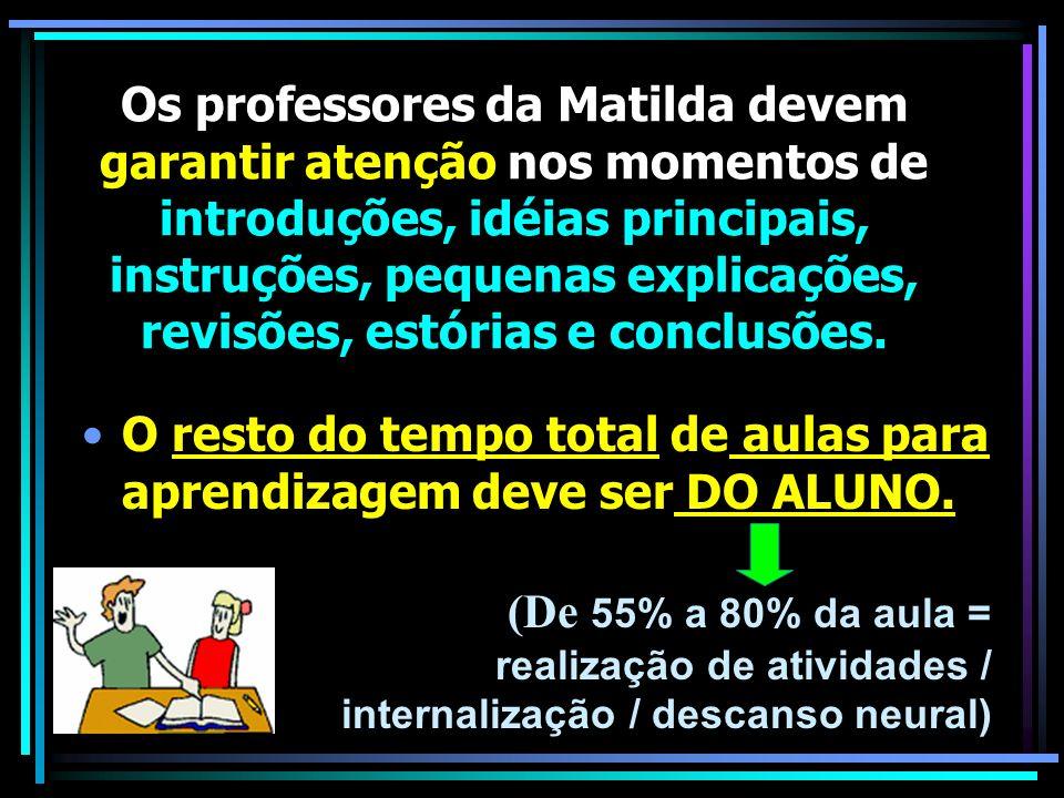 Os professores da Matilda devem garantir atenção nos momentos de introduções, idéias principais, instruções, pequenas explicações, revisões, estórias e conclusões.