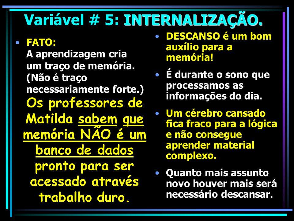 Variável # 5: INTERNALIZAÇÃO.