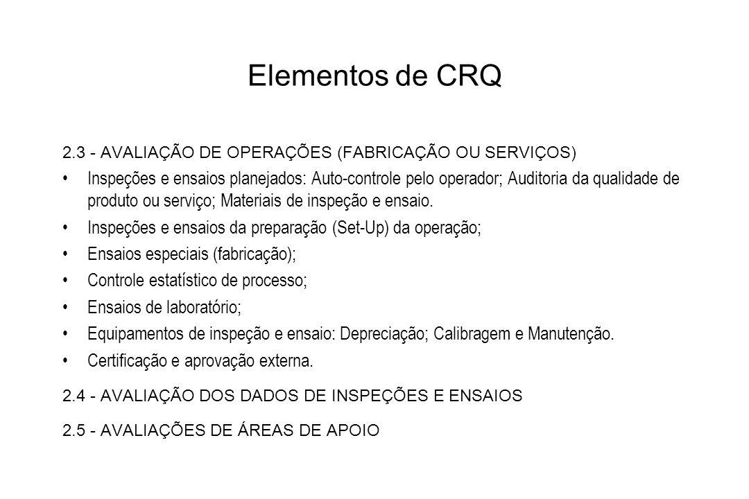 Elementos de CRQ2.3 - AVALIAÇÃO DE OPERAÇÕES (FABRICAÇÃO OU SERVIÇOS)