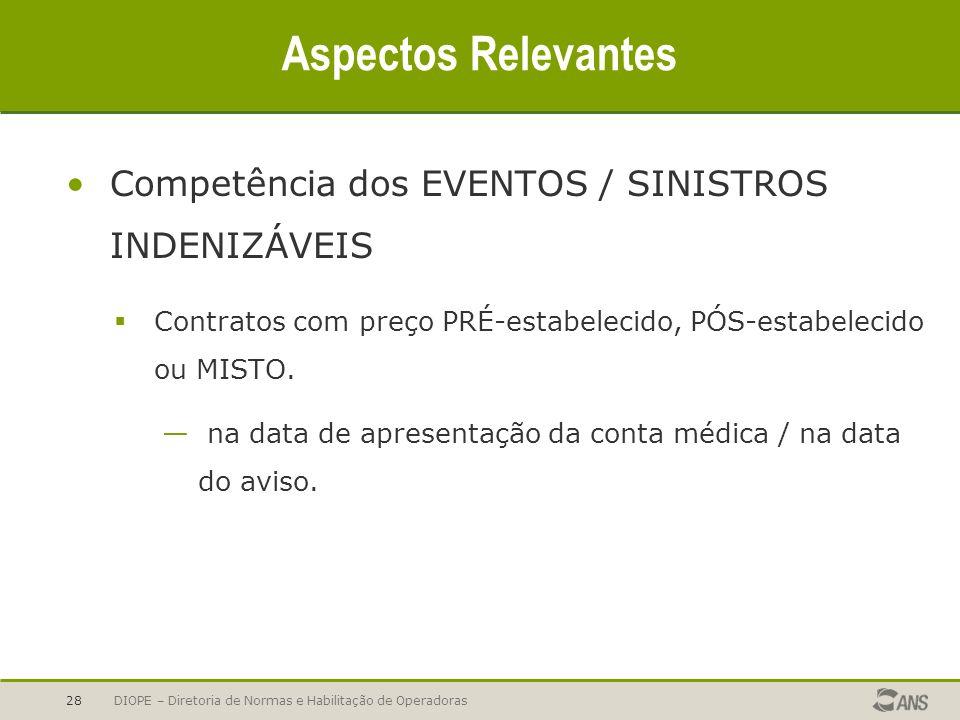 Aspectos Relevantes Competência dos EVENTOS / SINISTROS INDENIZÁVEIS
