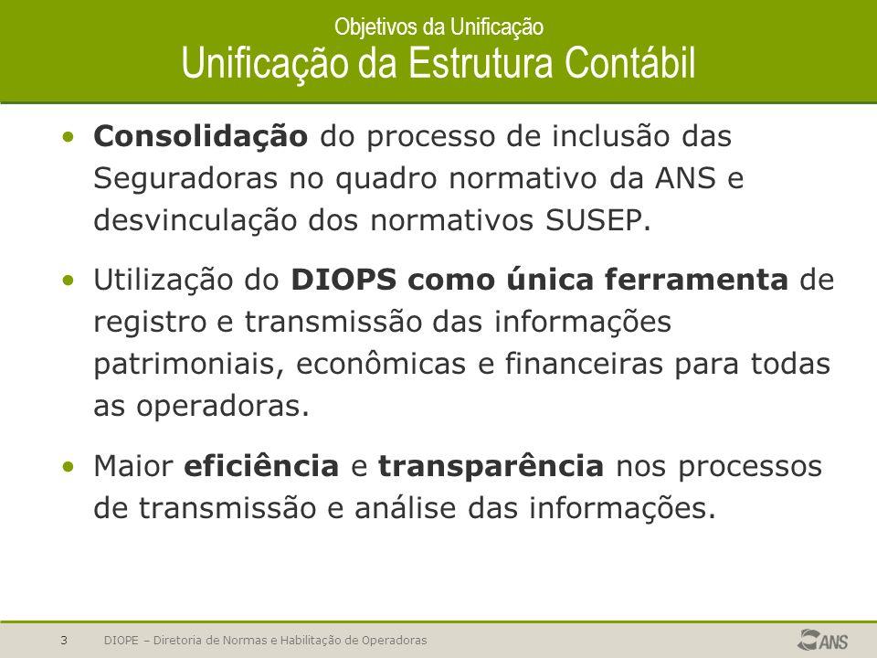 Objetivos da Unificação Unificação da Estrutura Contábil