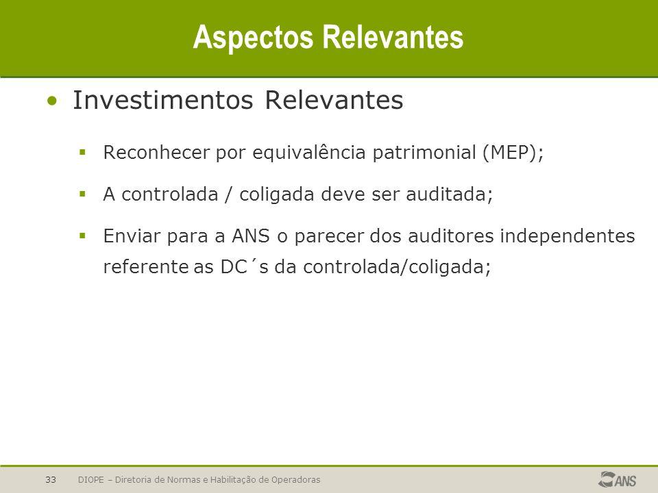 Aspectos Relevantes Investimentos Relevantes