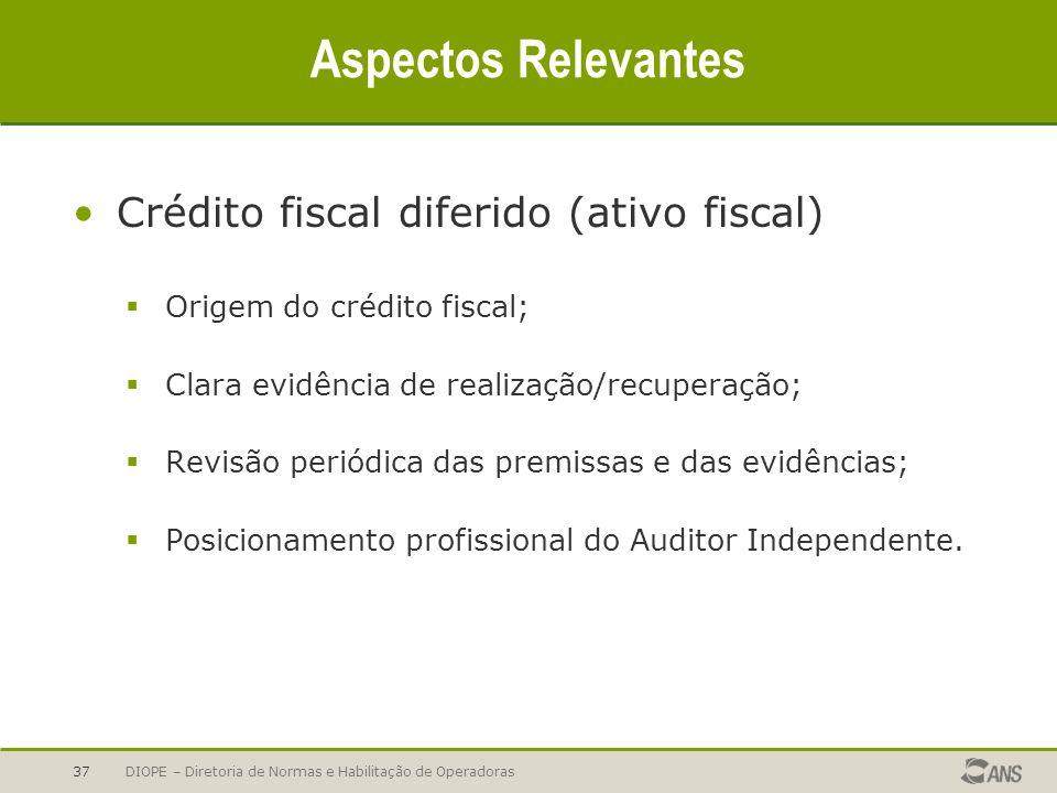 Aspectos Relevantes Crédito fiscal diferido (ativo fiscal)
