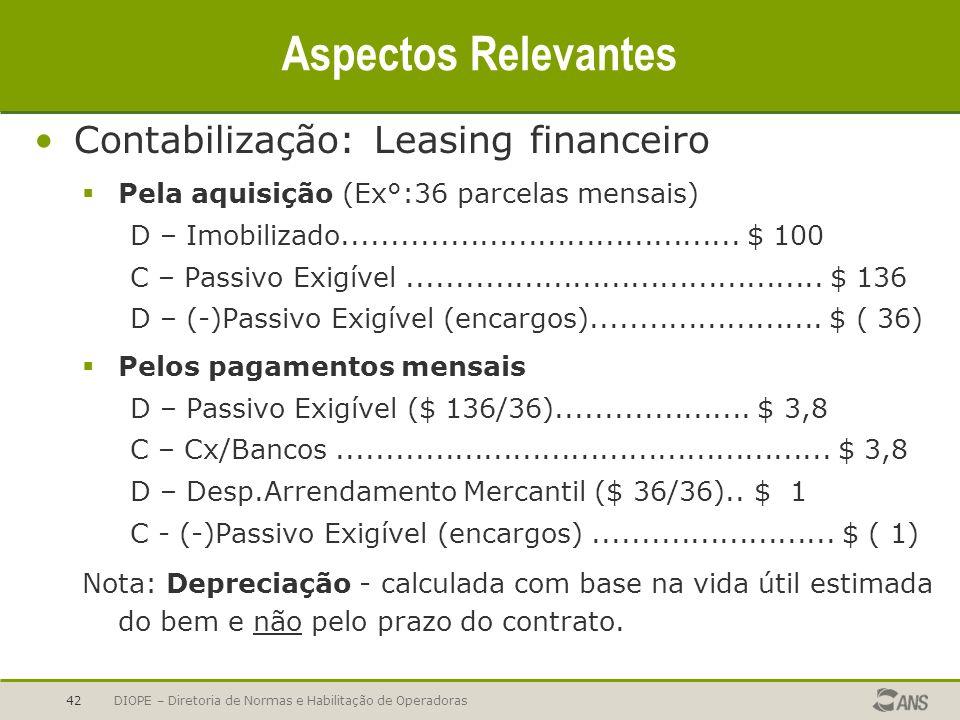Aspectos Relevantes Contabilização: Leasing financeiro
