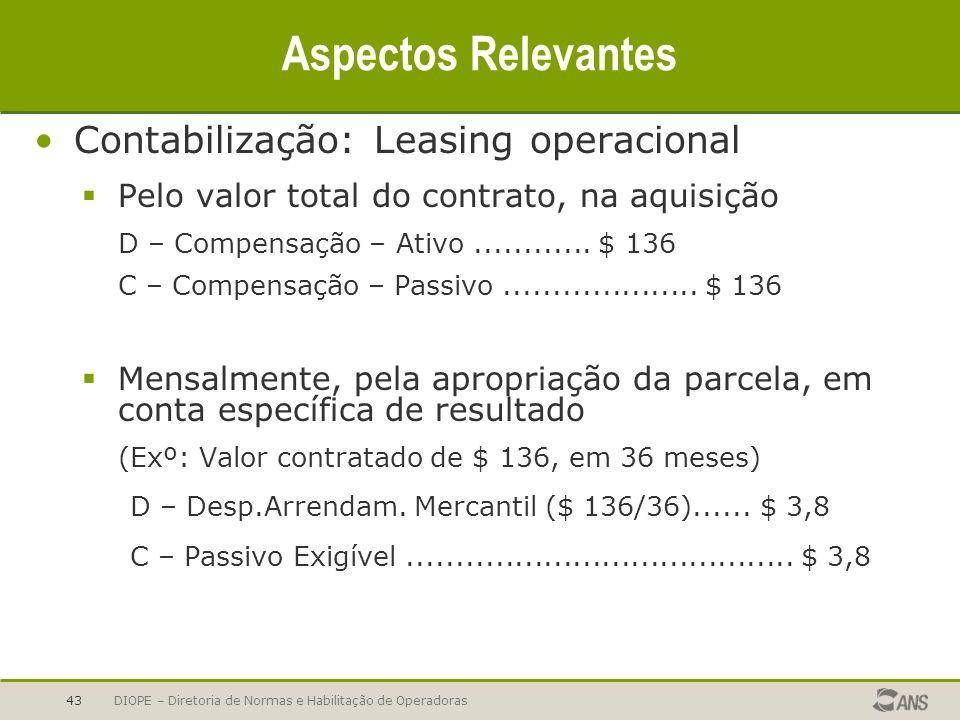 Aspectos Relevantes Contabilização: Leasing operacional