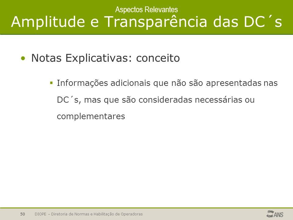 Aspectos Relevantes Amplitude e Transparência das DC´s