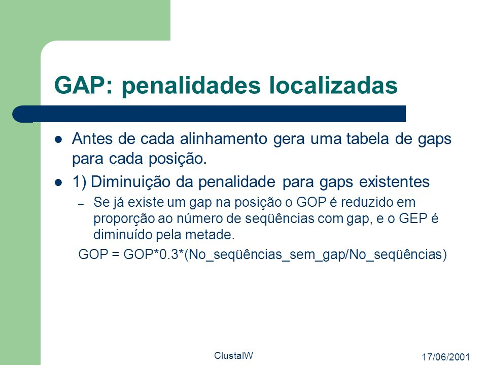 GAP: penalidades localizadas