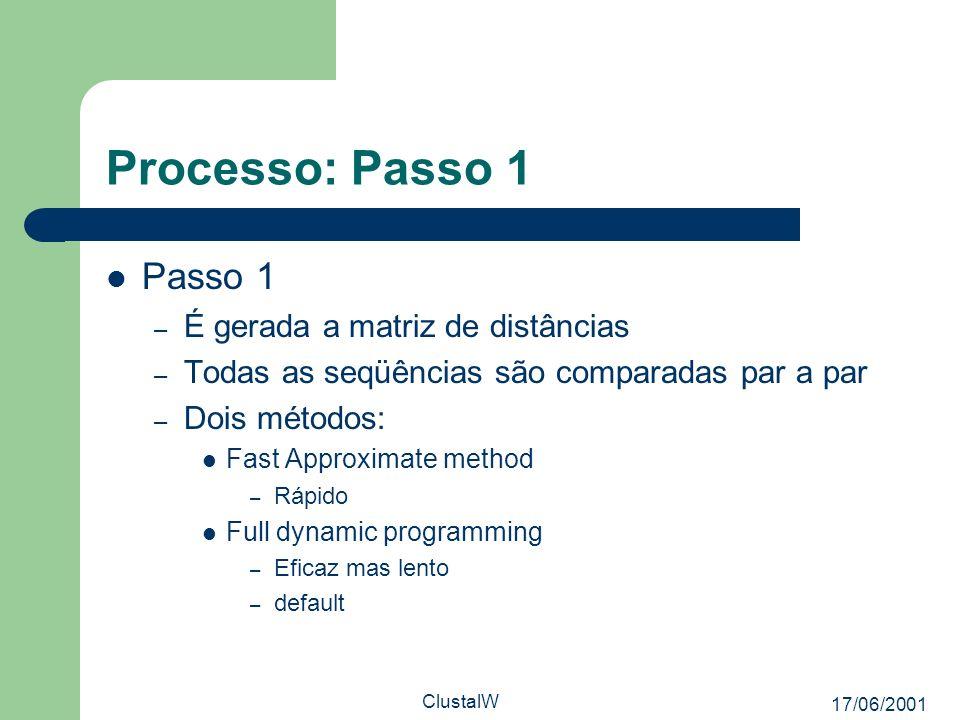 Processo: Passo 1 Passo 1 É gerada a matriz de distâncias