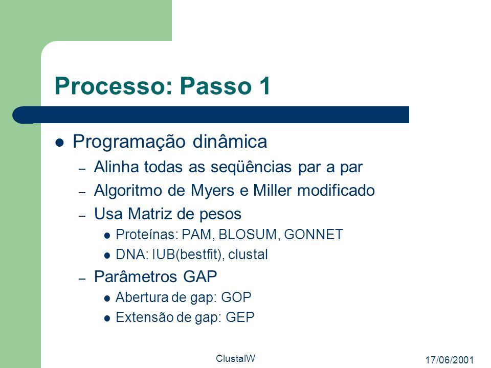 Processo: Passo 1 Programação dinâmica