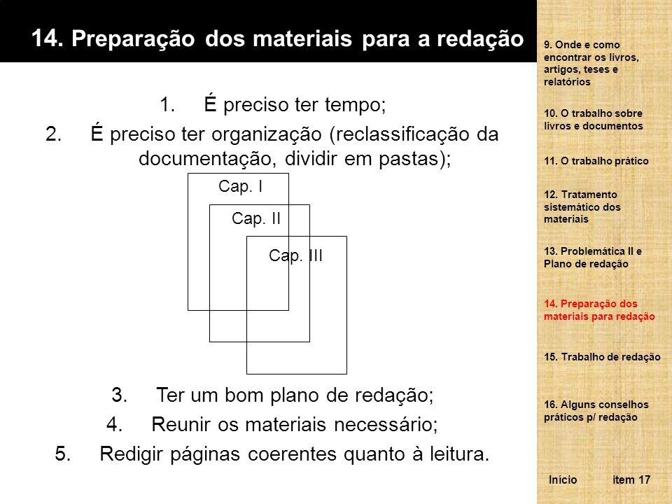 14. Preparação dos materiais para a redação