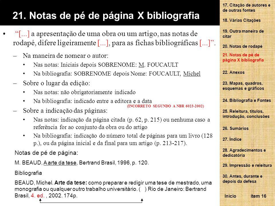 21. Notas de pé de página X bibliografia