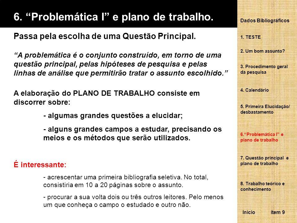 6. Problemática I e plano de trabalho.