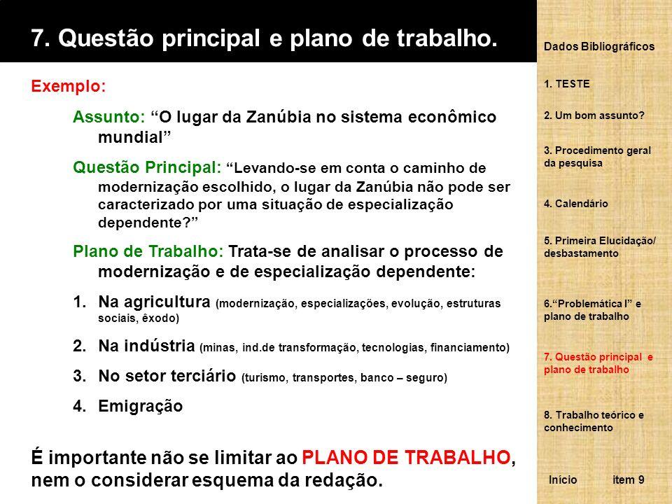 7. Questão principal e plano de trabalho.