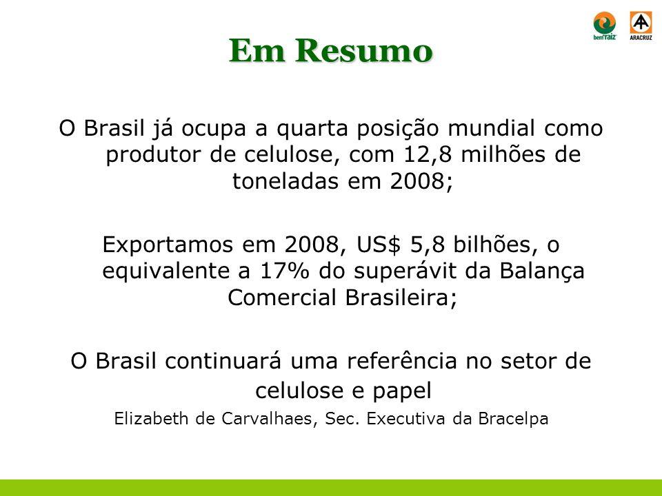 Em ResumoO Brasil já ocupa a quarta posição mundial como produtor de celulose, com 12,8 milhões de toneladas em 2008;