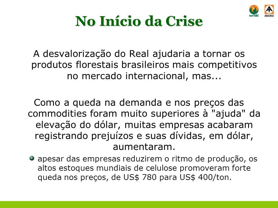 No Início da Crise A desvalorização do Real ajudaria a tornar os produtos florestais brasileiros mais competitivos no mercado internacional, mas...