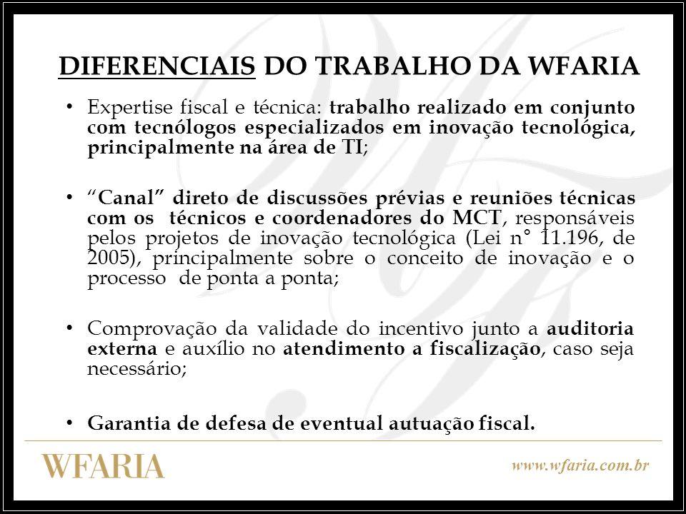 DIFERENCIAIS DO TRABALHO DA WFARIA
