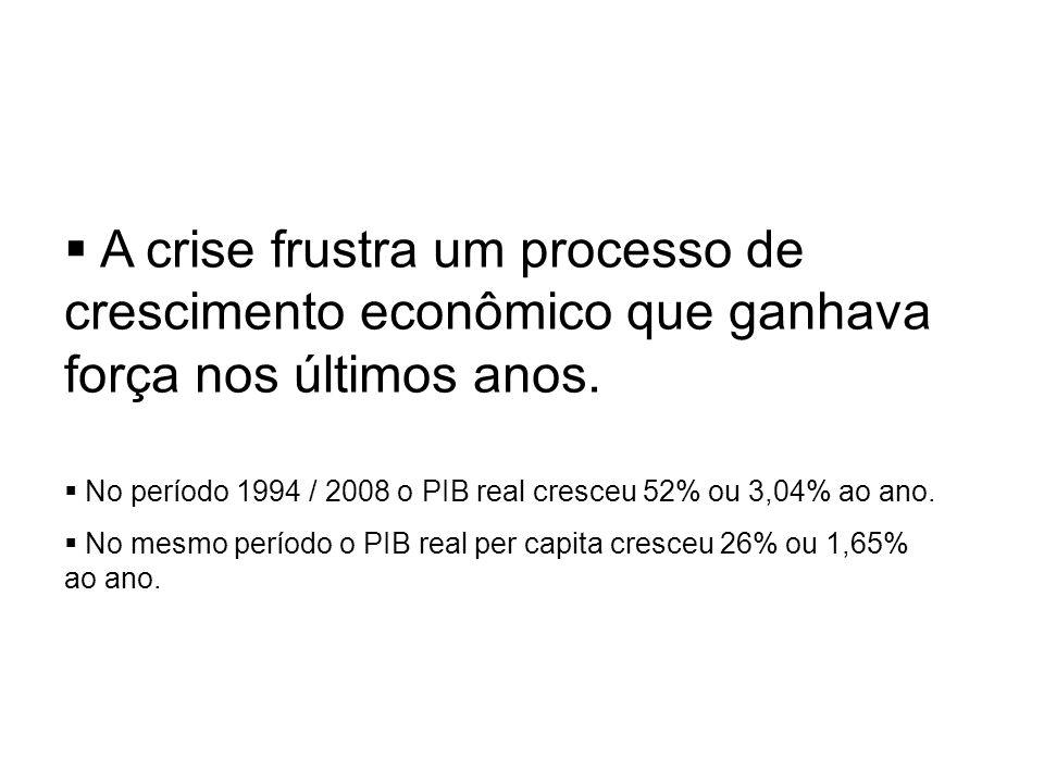 A crise frustra um processo de crescimento econômico que ganhava força nos últimos anos.