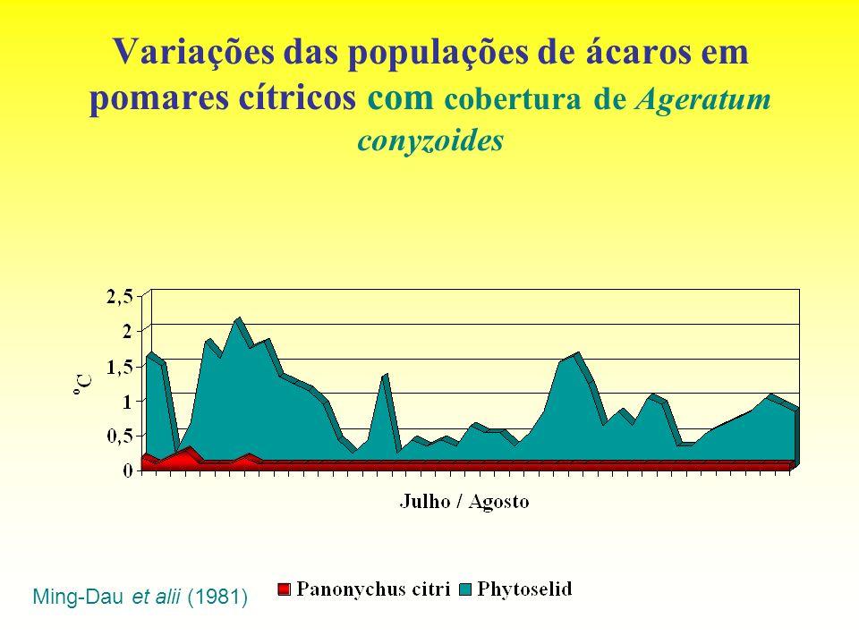 Variações das populações de ácaros em pomares cítricos com cobertura de Ageratum conyzoides