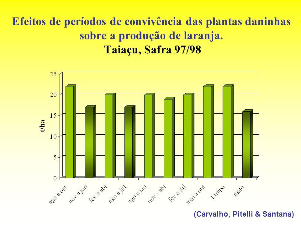 Efeitos de períodos de convivência das plantas daninhas sobre a produção de laranja. Taiaçu, Safra 97/98